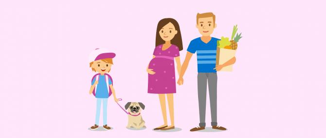 Imagen: gesunde und junge Leihmutter mit eigener Familie
