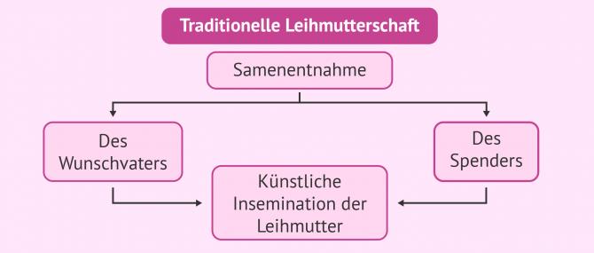 Imagen: Mögliche Konstellationen in der traditionellen Leihmutterschaft