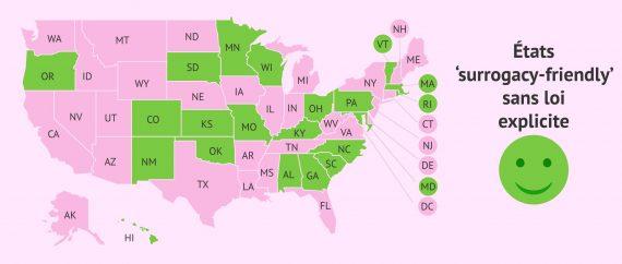 Carte des États des USA «surrogacy-friendly» sans loi explicite